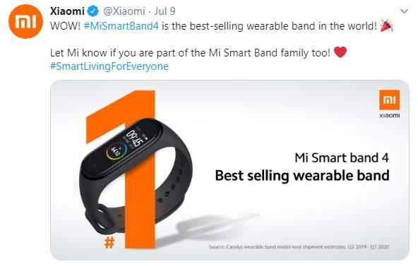 Xiaomi Mi Band 4 Terlaris di Dunia (twitter.com)