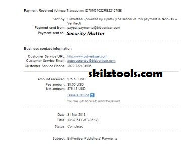 Bidvertiser payment review