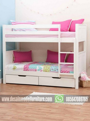 tempat tidur tingkat minimalis warna putih untuk anak perempuan