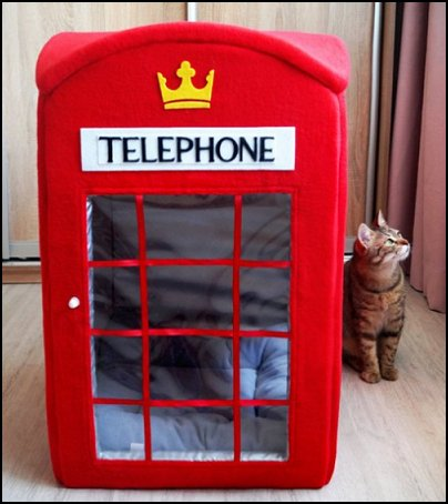 London telephone booth cat house  pet gift ideas - gifts for pets - gifts for dogs - gifts for cats - creative gifts for animal lovers‎ - gifts for pet owners pet stuff - cool stuff to buy - pet supplies - pet cookie jars - dog throw pillows - dog themed bedding - cat throw pillows - paw pillows - gifts for cat loving friends - gifts for dog loving friends