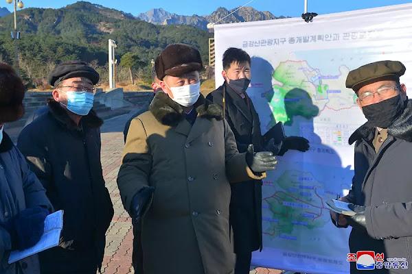 Kim Tok Hun learns at Mt Kumgang tourist area development, December 2020