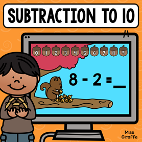 Subtraction within 10 practice where kids can help the cute little squirrel solve the math problems and pick the acorn with the correct answer