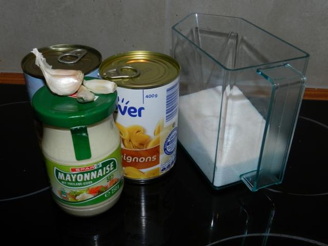 Zutaten Pilzesalat mit Mayonnaise