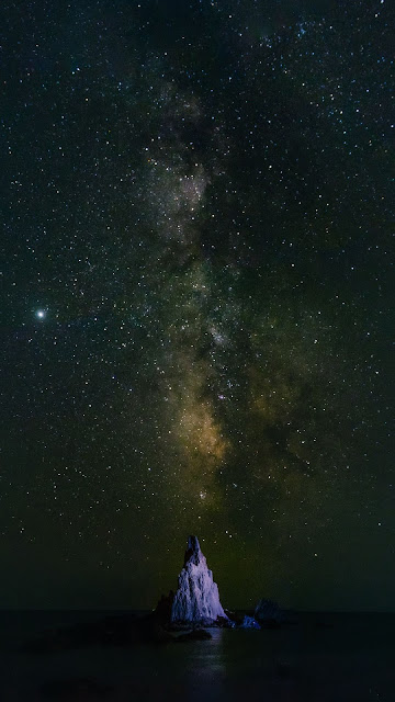 Galaxy HD wallpaper, stars, rock, night sky