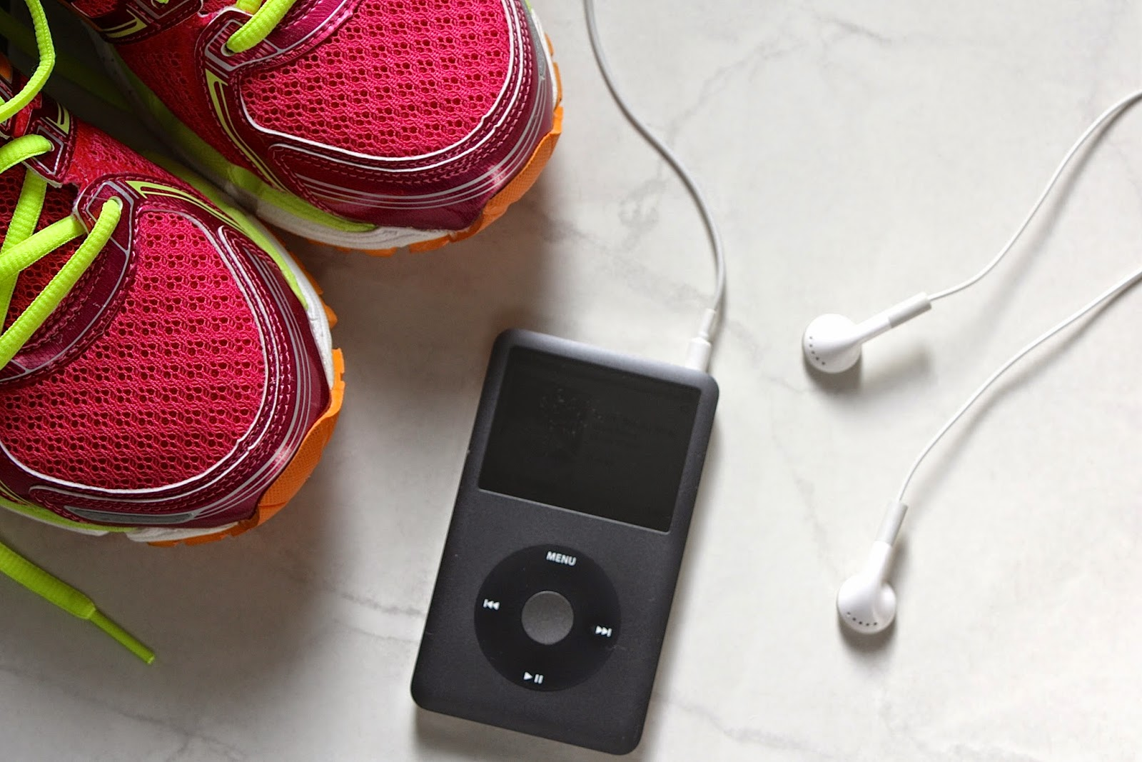 Pink Asics Running Shoes, iPod, Workout Songs