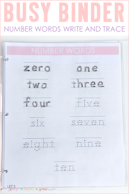 Number Word Trace and Write Busy Binder Activity