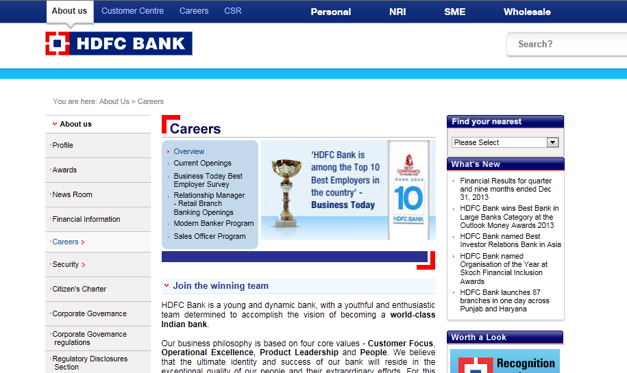 HDFC Bank Job opening ~ Online Utility and Electricity bills payment