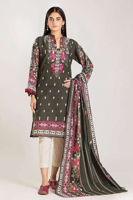 khaadi winter karandi grey colour dress