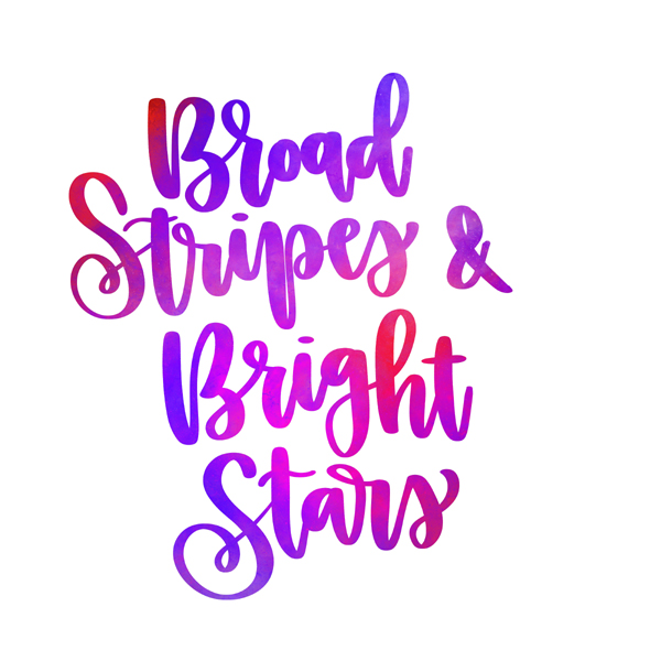 Calligraphy in red and pink: Broad stripes and bright stars
