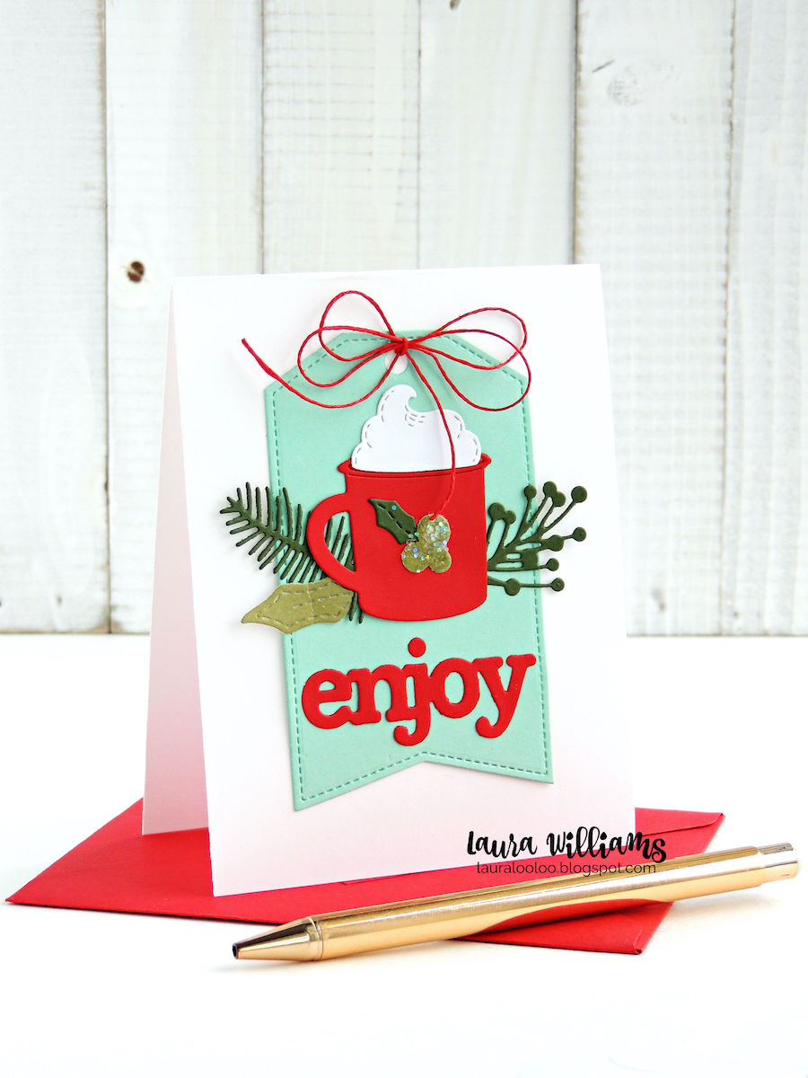 Enjoy! Click to see more about this festive holiday card making idea with diecutting using supplies from Impression Obsession. The cocoa or coffee cup is fun to use for projects all year long, but it's especially perfect for fall and winter paper crafts and cardmaking ideas. #handmadecards #christmascard #diecut