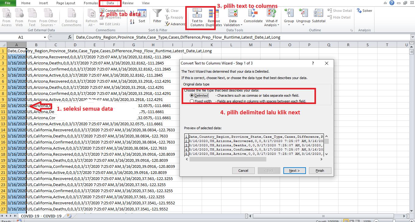 merapikan file csv pada excel