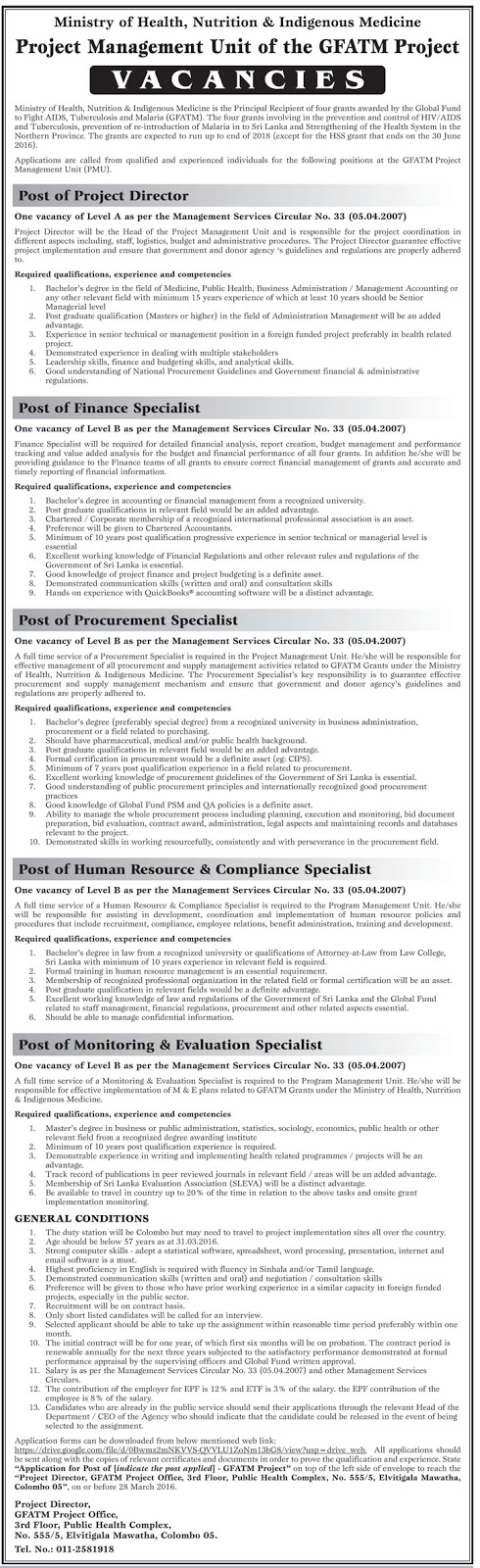 Vacancies – Project Director - Finance Specialist - Procurement Specialist - Human Resource And Compliance Specialist -Monitoring And Evaluation Specialist - Project Management Unit Of The GFATM Project - Ministry Of Health Nutrition And Indigenous Medicine