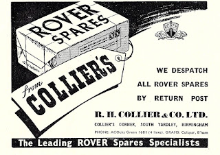 R H Collier & Co Ltd, Rover spares advert 1954