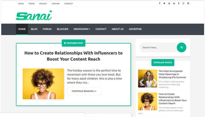 Chia sẻ giao diện blogger Sanai blogger template