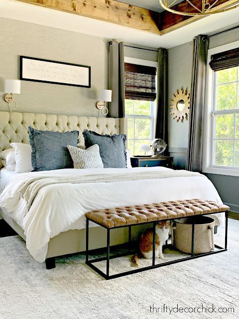 gray grasscloth peel and stick wallpaper in bedroom