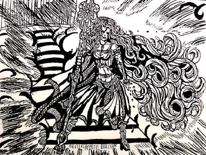 Mujer diosa a blanco y negro.Cabello gigante