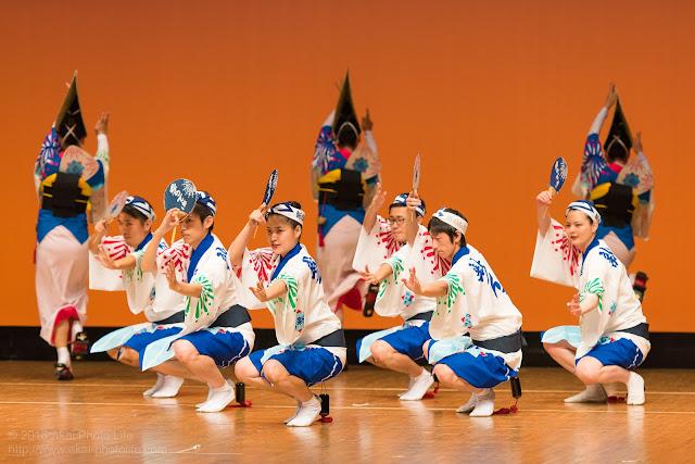 東京新のんき連の踊り手が団扇を持ってポーズ決めている時の写真