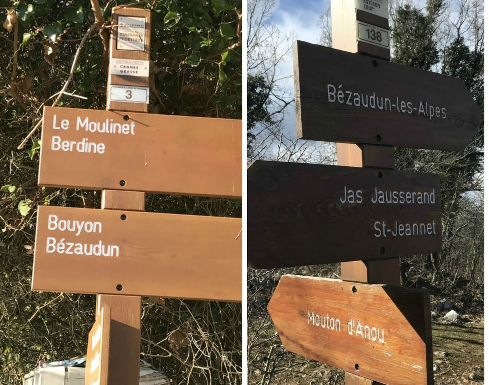 Signposts on trail to Mouton d'Anou