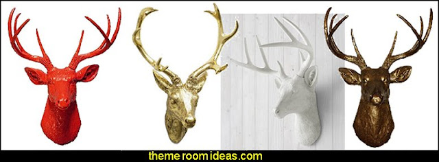 Faux deer/stag taxidermy wall mounts  Hipster wall art - Hipster room decor