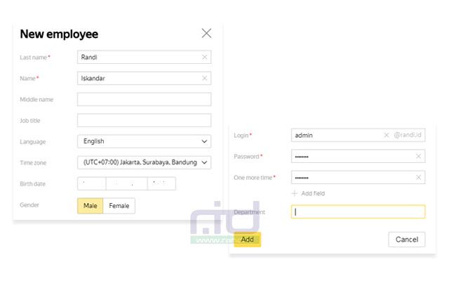 Menambah anggota email domain di Yandex