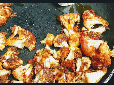 Crisp shallow fried cauliflower florets for cauliflower fried rice Manchurian recipe