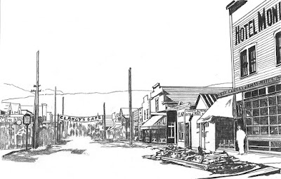 Brenda Wilbee's sketch of Skagway's Sixth Avenue, looking west from Broadway