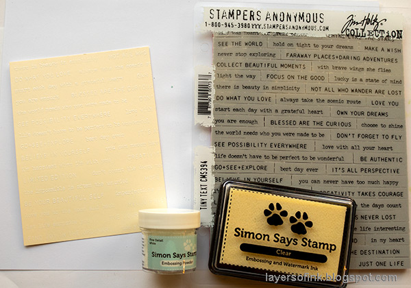 Layers of ink - Inky Ombre Card Tutorial by Anna-Karin Evaldsson. Stamp with Tim Holtz Tiny Text.