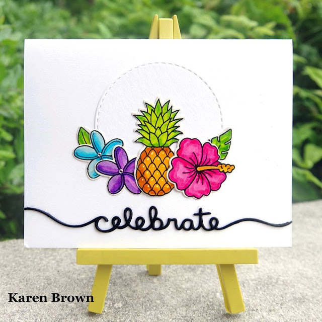 Sunny Studio Stamps: Tropical Paradise Customer Card by Karen Brown