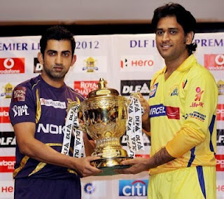 Dhoni Gambhir with IPL 2012 Cup