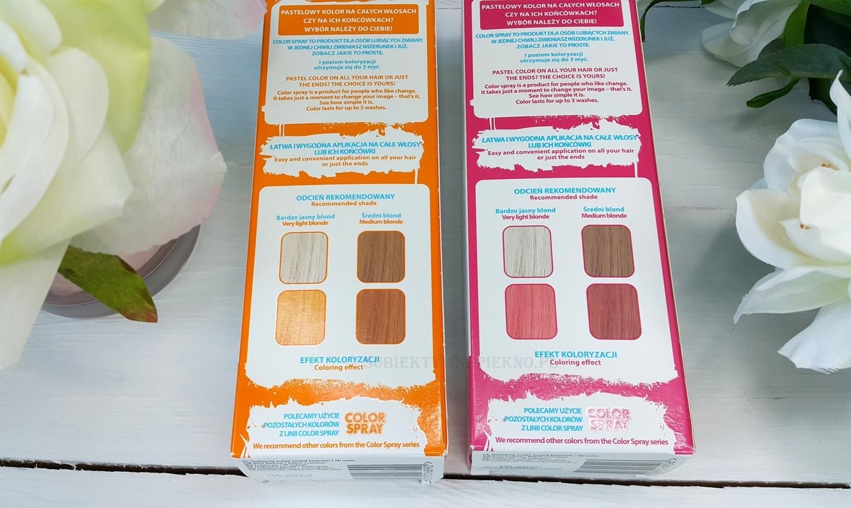 Joanna Color Spray - pastelowy różowy i pomarańczowy efekty koloryzacji