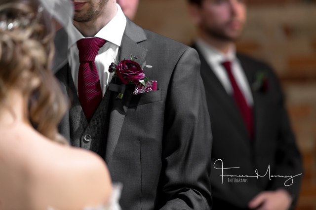 purple ranunculus boutonniere groom toronto gladstone hotel periwinkle flowers