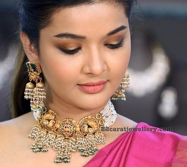 Peacock Pearls Choker Fancy Earrings