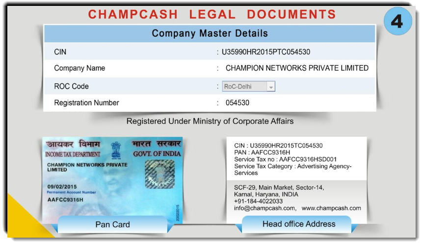 ChampCash Legal Documents