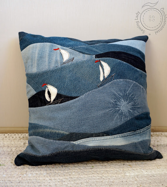 nautical pillow, denim cuchion