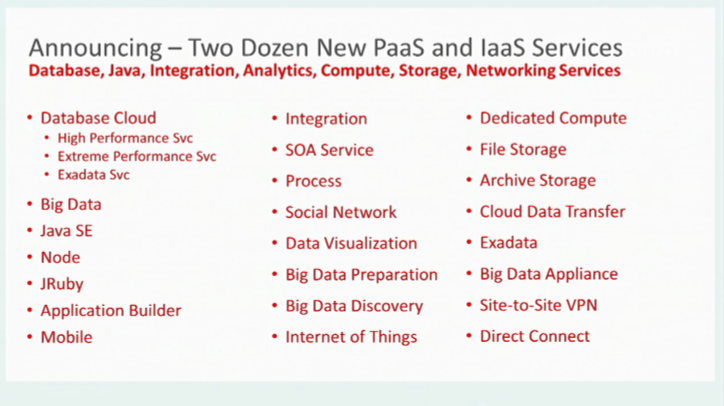 Oracle PaaS - 6 PaaS services launched, many more announced