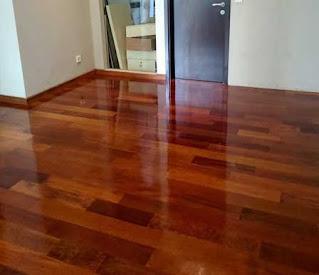 contoh lantai kayu merbau terpasang