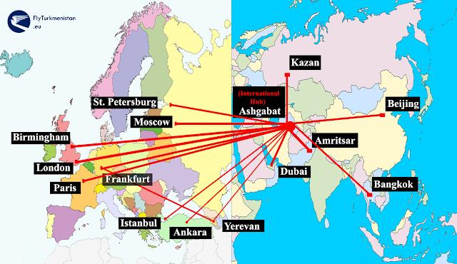 Turkmenistan Airlines Havayolları Uçuş Noktaları