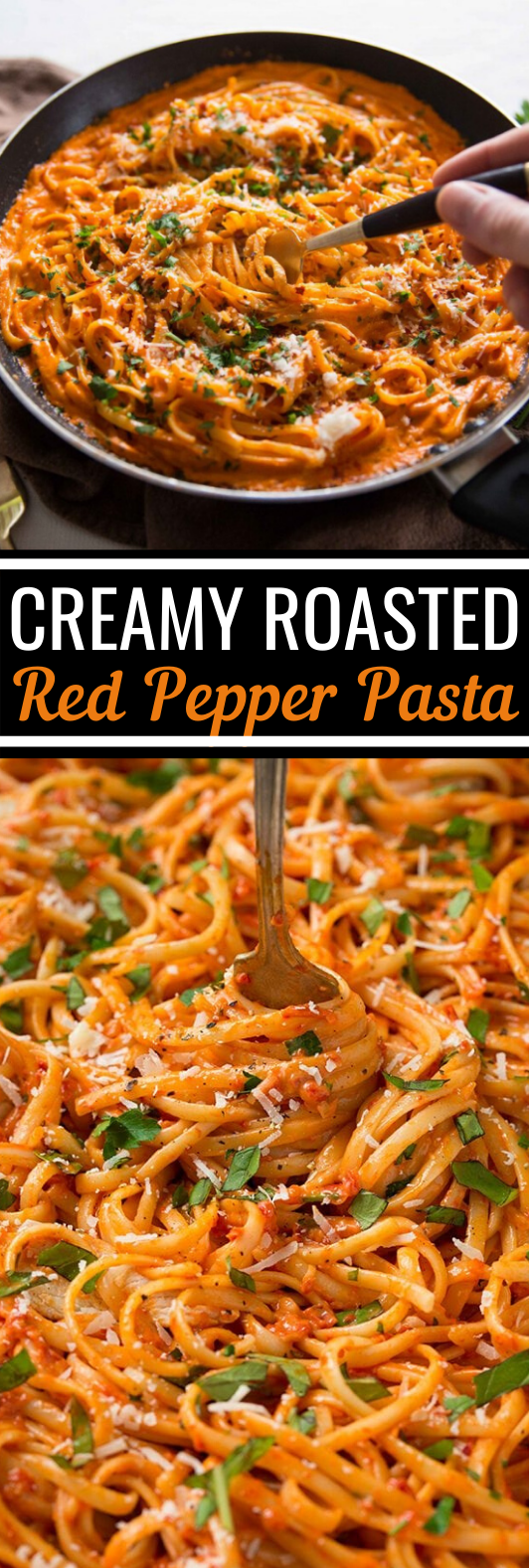 Creamy Roasted Red Pepper Pasta #easy #dinner #pasta #quick #vegetarian