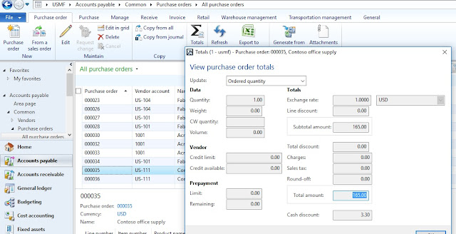 Purchase order Invoice Total