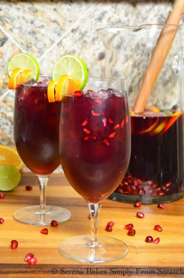 Red Wine Pomegranate Sangria is the perfect cocktail for Christmas or holiday entertaining! A favorite red wine sangria recipe from Serena Bakes Simply From Scratch.