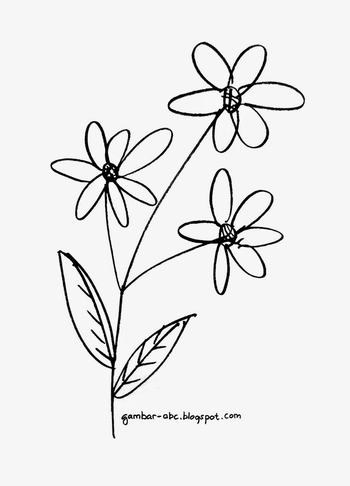 Mewarnai Bunga Mudah Sederhana  Contoh Gambar Mewarnai