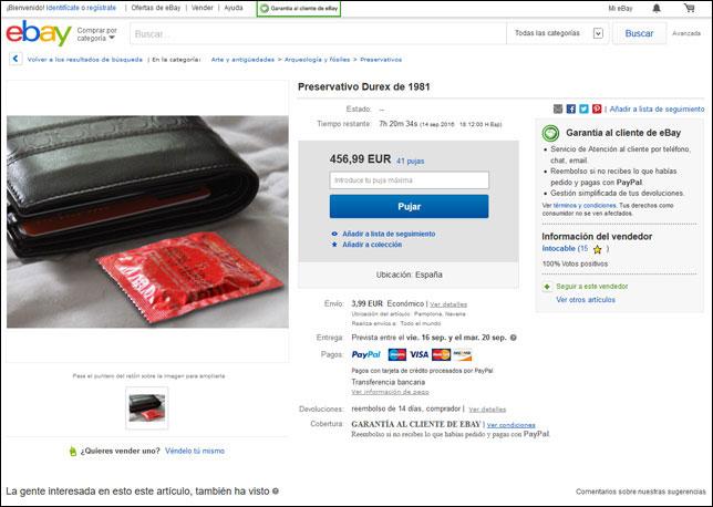 Captura de pantalla de la subasta del condón en eBay