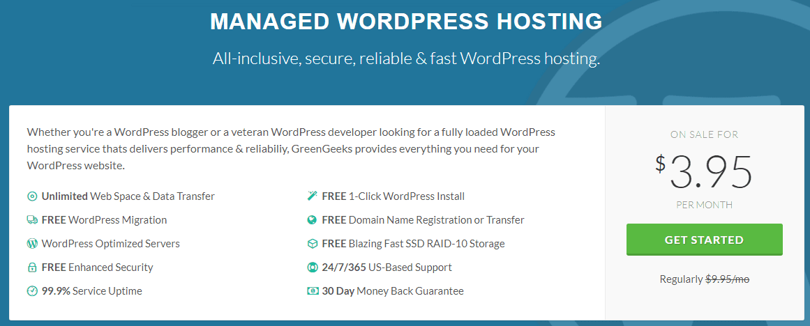 GreenGeeks wordpress hosting for designers