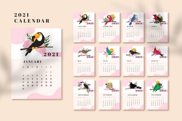 Calendario editable 2021 en illustrator de animales
