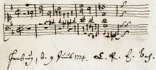 Imitative harmonization of the family name, B-A-C-H, autograph entry by C.P.E. Bach in an album of Carl Friedrich Cramer (June 9, 1774). Courtesy of the Universitätsbibliothek Kiel