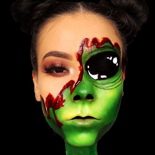 ideas de maquillaje de alien con sangre