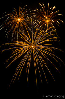 Cramer Imaging's fine art photograph of three fireworks in the night sky on the 4th of July