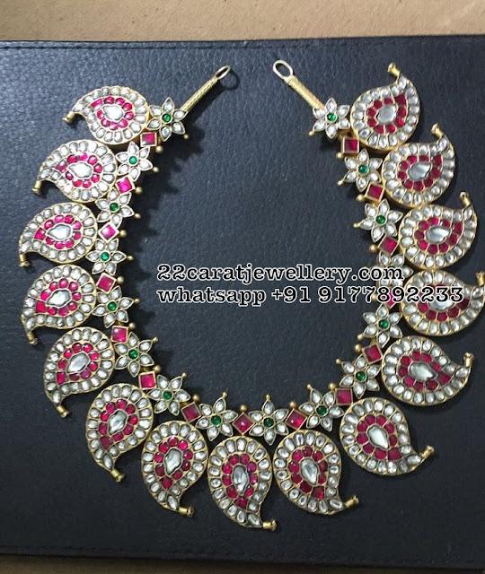 92.5 Silver Hevay Kundan Mango Necklace