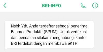 SMS BRI Bantuan Usaha Mikro