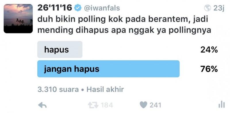 Polling Pilgub DKI 2017 Iwan Fals didukung mayoritas netizen